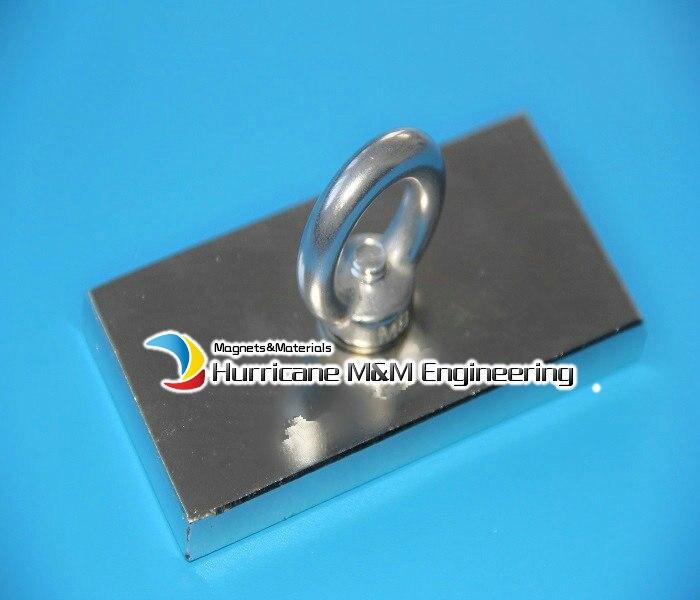 2 pcs 35kg pulling NdFeB Lifting Magnet 100x50x10 mm M8 Screw Countersunk Hole Block N52 Strong Neodymium Rare Earth Magnet<br>