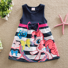 Baby Girls Clothing New 2016 Summer Kids Dress Fashion Cartoon My Pony Children Clothes Short Sleeve Dresses For Girls Dress