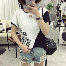 2017 new chiffon bat sleeve is natural color printing short sleeve T-shirt code woman fashion casual t-shirt best friend t-shirt