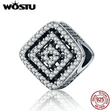 WOSTU Vintage 925 Sterling Silver Magic Cube Halo European Beads fit original WOST Charm Bracelets for Women Jewelry BLC146(China)