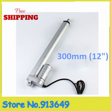 "Free Shipping 300mm/12""stroke electric linear actuator, 225LBS/100KGS/1000N load DC 12V/24V small linear actuator-1PC"