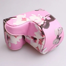 Digital Camera Bag PU Leather Case Cover White/Pink Butterfly  pattern for Sony A5000 A5100 NEX 3N NEX-3N 16-50mm lens