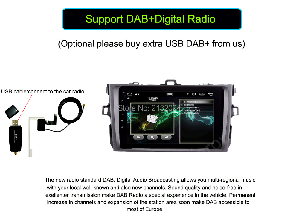 Car dvd player for Toyota corolla 2007 2008 2009 2010 2011 in dash 2 din 1024600 Android 6.0 gps navigation
