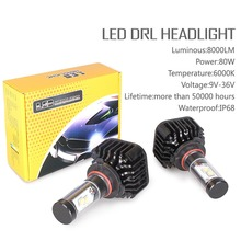 Pair 80W 8000LM For H8/H9/H11 LED Daytime Light Headlight Vehicle Car Bulbs 6000K for 2016 Honda CR-V SE Sport Utility 4-Door(China)
