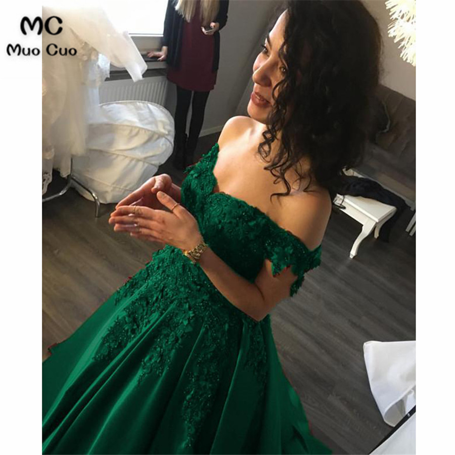 Lace Flower Off The Shoulder Satin Prom Dresses Ball Gowns325