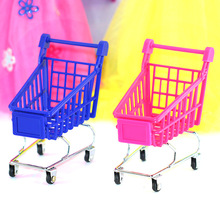 1Pcs Mini Supermarket Shopping Trolley Toys Phone Holder Office Desk Storage Shopping Cart Toy Handcart Children Play House Toys(China)