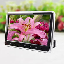 "12W 10"" HD TFT Digital LCD Touch Screen Car Headrest Monitor DVD/USB/SD Player IR/FM Build-in IR Speaker With Remote Controller"