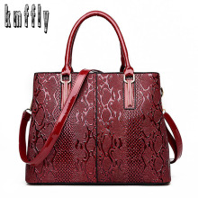 KMFFLY Brand 2017 New Serpentine Pattern Women's Handbags Flower Leather Women Bag Ladies Hand bags Large Capacity SAC A Main