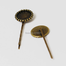 Blank Bobby Pins Bases Settings with Round Bezel tray Cabochons Metal Hairpin Hair Clip Pins Crafts DIY Findings Bronze tone