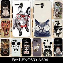 For LENOVO A606 A 606 Soft Silicone tpu Plastic Mobile Phone Cover Case DIY Color Paitn Painting Cellphone Bag Shell