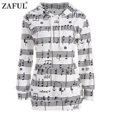 ZAFUL Musical Notes Print Women Hoodie Sweatshirt Pullover Ombre Musical Notes Print Kangaroo Hoodie(China)