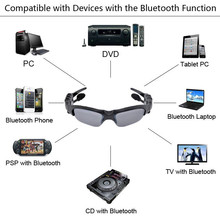 Bluetooth Headset Sunglasses + 8GB Memory card + DV DVR Video Camera + MP3 Player high resolution 200w Mini Camcorders Recorder