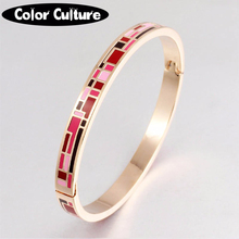 Enamel Jewelry Gold-color Stainless Steel Bangle Opened for Women Jewelry Bracelet Top Quality Factory Price(China)