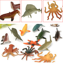 12PCS/Set 4.5-8cm Plastic Marine Animal Figures Ocean Creatures Sea Life Shark Whale Crab Kids Toy(China)