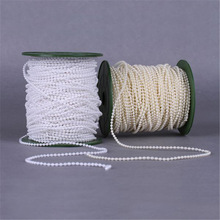 Free Shipping 5Meters/Lot 3mm Craft Imitation Pearl Beads Cotton Line Chain For DIY Wedding Party Decoration Party
