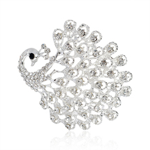 Peacock Animal Brooch Pins Corsage Fashion Classic Silver Crystal Shirt collar accessories Wedding jewelry