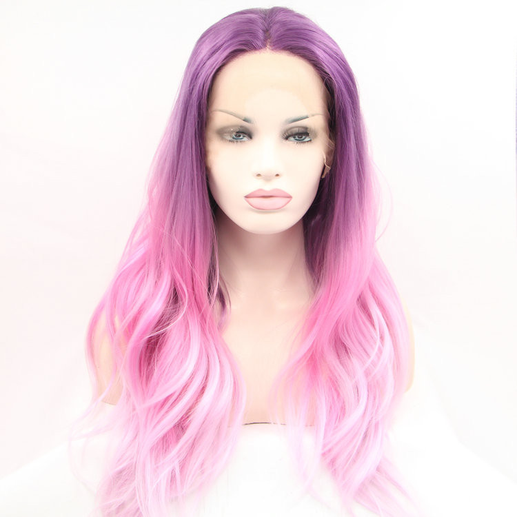 Legendhair  two tone ombre pink lace front wig party wig wave synthetic lace front wigs heat resistant<br><br>Aliexpress