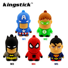 Kingstick super heros model USB Flash Drive 8GB 16GB 32GB 64GB 4GB USB 2.0 Pen Drive Memory Flash Pendrive Stick(China)