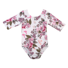 2017 Newborn baby Girl Autumn clothes Cotton Long Sleeve Baby Floral Rompers Soft Infant Baby girl Clothing Set Jumpsuits(China)