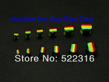 2015 rasta design ear plug acrylic saddle ear gauges mix size 4mm-12mm lots wholesale body piercing jewelry DHL free shipping
