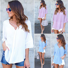 Buy Fashion Women Ladies Clothing Tops Summer Loose Top Casual Blouse Chiffon Casual Tops New Clothes Women for $4.33 in AliExpress store