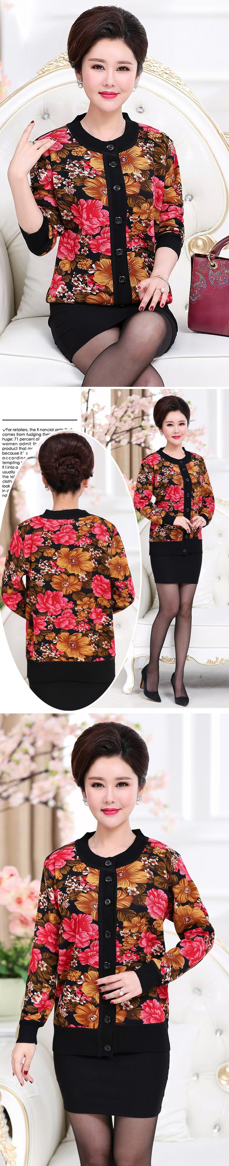 WAEOLSA Winter Woman Flower Cardigan Sweaters Middle Aged Women\`s Thicken Fleece Knitwear Lady Knied Cardigan Sweater Warm Top Mother (9)