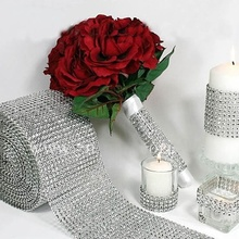 Hot Cute 4mm Superior Silver Wedding Bridal Bouquet Wrap Ribbon 1 Roll Sparkle Diamond Mesh Wrap LS ST2316(China)