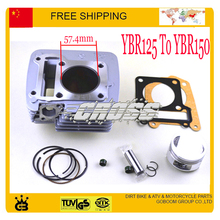 Modified YBR125 To YBR150 cylinder assy block assembly 57.4mm piston ring gasket 125cc motorcycle accessories free shipping(China)