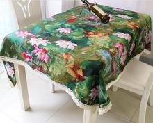 Fyjafon Table Cloth Rectangular Cotton/Linen Lotus Printed Tablecloth 70*70CM/90*90CM/90*140CM/140*180CM/140*200CM/140*220CM(China)
