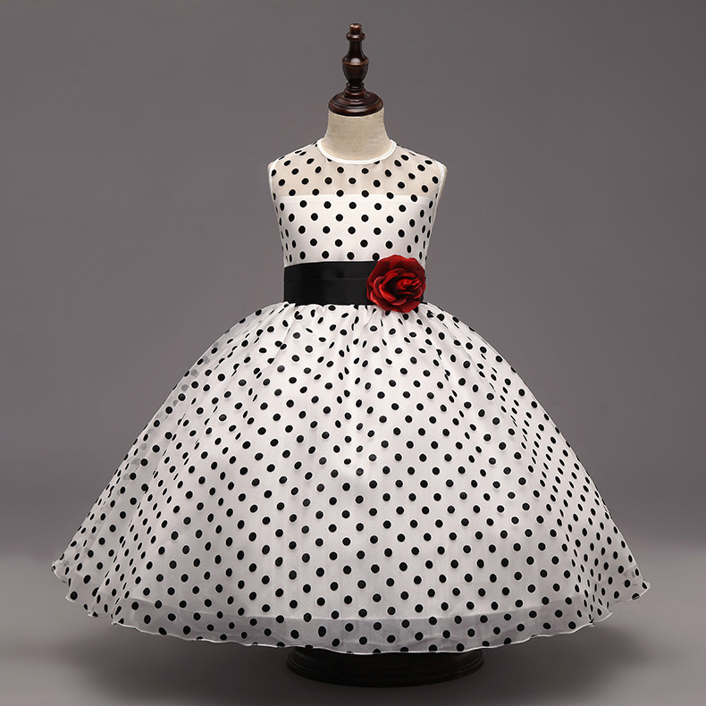 Flower girl dress long polka dot white with butterfly weddings 2018 summer princess dress ankle length belt for party<br>