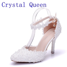 Crystal Queen Wome Sandals Wedding Shoes White Lace Flower Wristband Bridal Shoes Pointed Toe Thin Heels satin Female Shoes