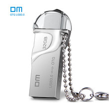 Free shipping DM smart phone usb flash drives pen drive PD017 32G USB 3.0 high speed double plug OTG mobile phone