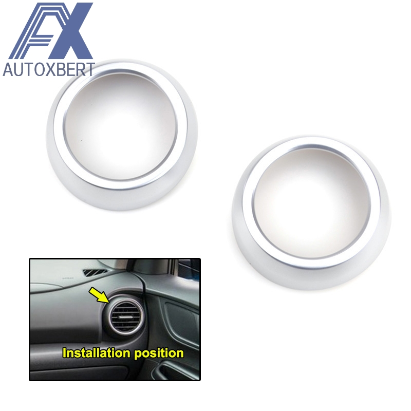 Chrome Front Side Air Condition Vent Outlet Cover Trim For Hyundai Kona 17-19