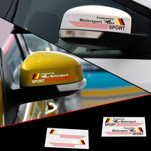 Styling Wolf Sport Reflective Rear View Mirror Sticker German Flag Stripes for Ford GT Audi A6 Q5 VW Golf Polo(China)