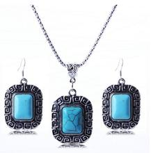 Trendy ethnic Wall square turquoise jewelry sets necklace women earrings for woman party alloy retro silver plated fj170 YOUREM