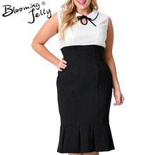 Blooming Jelly Plus Size Cocktail Xxl 3Xl Mermaid Bodycon Office Casual Work Black And White Patchwork Wiggle Dress High Waist(China)