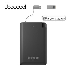 dodocool MFi Power Bank 2500mAh Ultra Thin External Battery Pack PowerBank with Micro USB Cable Lightning Adapter for iPhone 7(China)