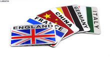 20pcs Australia Russia France England Italy Germany United States Aluminum Flag Car Styling Stickers Decoration Car Accessory