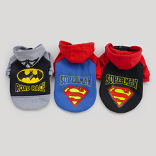Dog Clothes  3 Colors Superman Batman Pattern for  Pet Dog Coat Warm Costumes Winter Outfit Clothes For Dogs