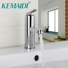 KEMAIDI Chrome Polished Waterfall Kitchen Faucet Vessel Sink Mixer Hot & Cold Water Basin Sink Stainless Stain Tap Faucets(China)