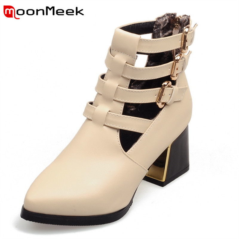 2017 new arrive sexy fashion women boots buckle zip pu soft leather hoof high heels autumn winter boots cut outs ankle boots<br><br>Aliexpress