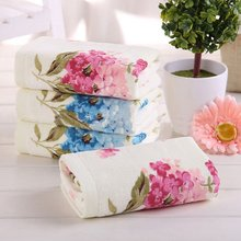 1PCE 32*72cm Flower Printed Cotton Hand Towels,Quality Pattern Bathroom Hand Towels,Floral Terry Towels,Petites Serviette Main(China)