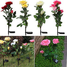Solar Powered Yellow Rose Flower Garden Stake Outdoor Patio Decor Yard Wedding Decor(China)