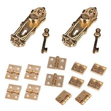 2pcs 1/12 Dollhouse Miniature Vintage Door Lock with Keys and 12pcs Hinges (Golden)