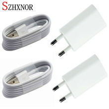 SZHXNOR 4pcs White EU Plug Wall Power Charger Adapter + 8 pin USB Charging Cable For Iphone 5 5s 5c 6 6s Plus 7 8 plus X IOS 11