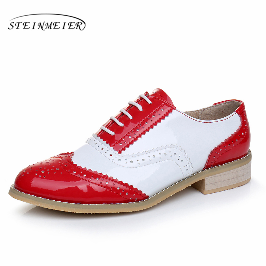2017 women full grain leather lover oxford shoes round toe handmade flat shoes red white oxfords shoes for women with fur<br>