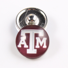 10PCS Texas A&M Aggies 18mm Glass Snap Button Fit Ginger Snap Bracelet Bangles NCAA Football Baseball Series Jewelry