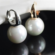 Big clear pearl earrings for women simple round white pearl earrings gold color jewelry classic earrings elegant gift 2016