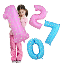 30 Inch Foil Helium Number Digital Balloons Children Cute Pink Blue Colorful Cartoon Balloon Birthday Wedding Party Decorations
