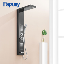Fapully Black Brushed Nickel Rainfall Shower Panel Wall Mounted SPA Rain Massage System Shower Faucet with Jets & Hand Shower(China)